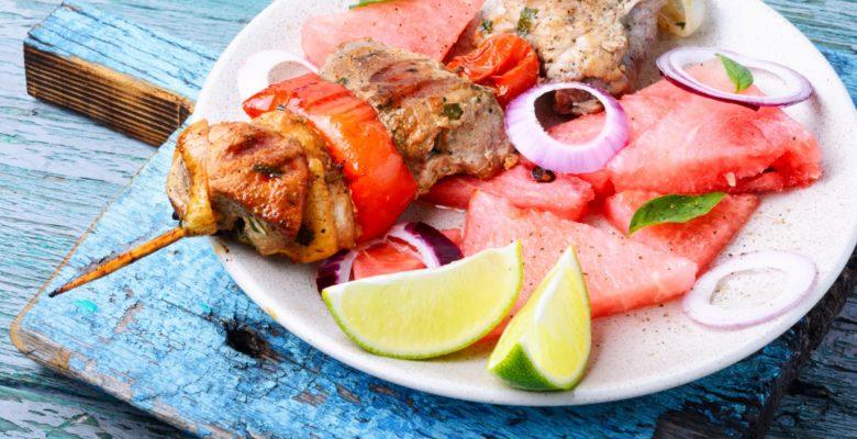 grilltallerken med vandmelon