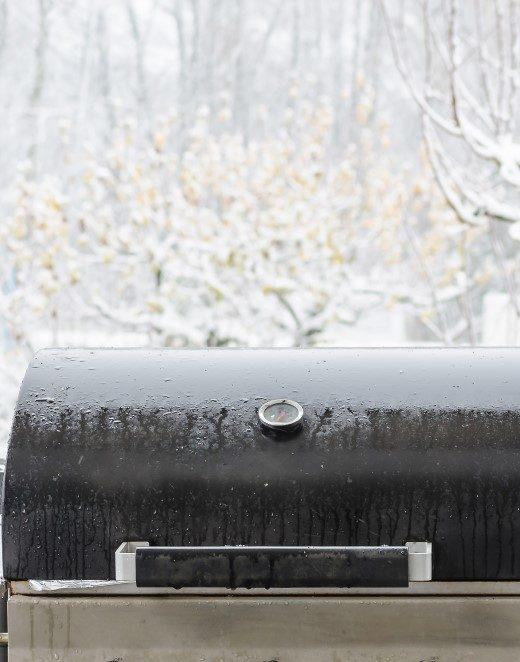 Grill med sne i baggrunden